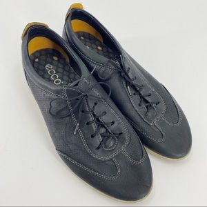 Ecco black leather lace up sneakers